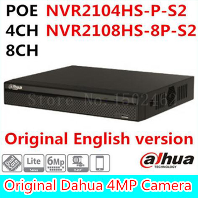 Dahua 6MP 4CH 8CH poe NVR NVR2104HS-P-S2 / NVR2108HS-8P-S2 up to 6Mp Recording Onvif Network video recorder ONVIF poe port 16ch poe nvr 1080p 1 5u onvif poe network 16poe port recording hdmi vga p2p pc