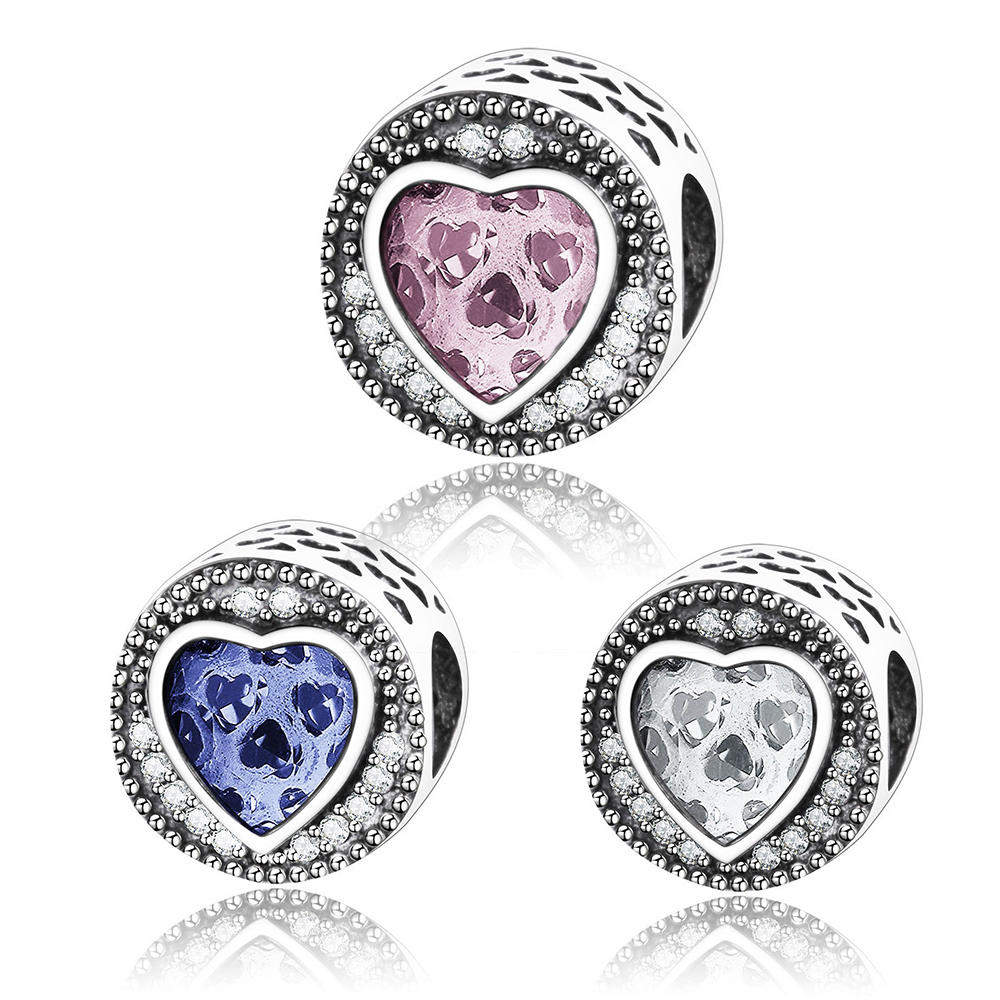 2017 Winter 925 sterling silver Blue White Pink CZ Heart Charm Beads Fits Original Pandora Charms Bracelet DIY Authentic Jewelry