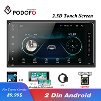 Podofo 2.5D Android 8.1 2din Car Radio Multimedia MP5 Video Player GPS WIFI 2 din Stereo for Toyota Corolla Support Mirror Link
