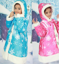 New Baby Girls Movie Warm Coats Winter Long Sleeve Hooded jacket Anna Elsa Children Cotton Padded