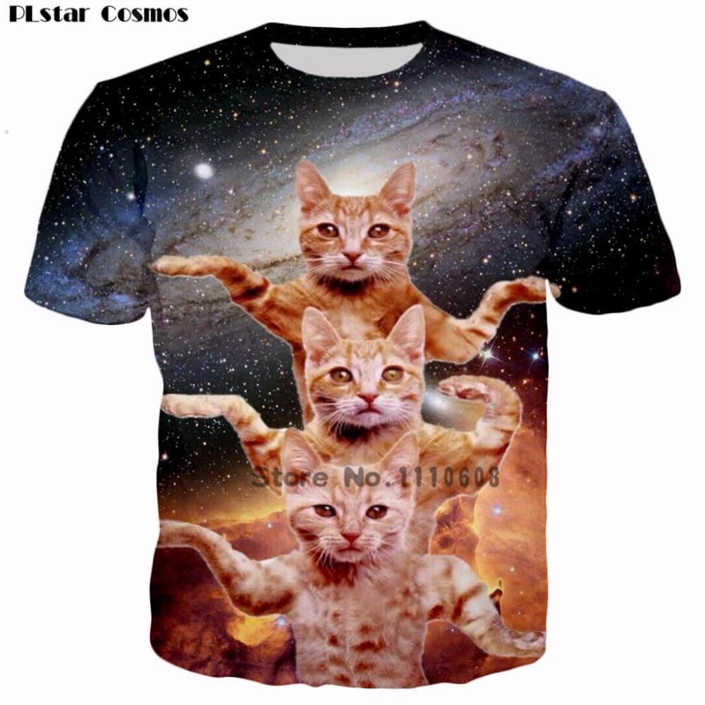 PLstar Cosmos 2018 Cool Design 3 Cats Dancing 3D Print T shirt Women/Men Casual tshirt Kids Cute T-shirt Plus size 5XL