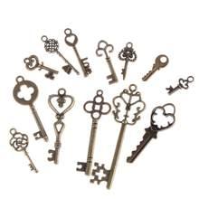 Pingente vintage com 13 peças, pingentes de chaves mistas, antigo bronze, encantos para pulseiras, colar, jóias de metal diy, atacado