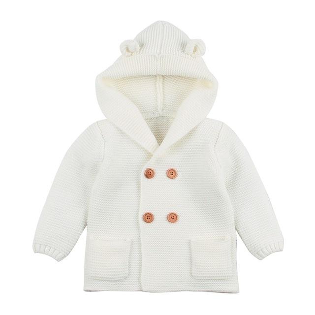 Baby Boy Knitting Cardigan 2019 Winter Warm Newborn Infant Sweaters Fashion Long Sleeve Hooded Coat Jacket Kids Clothing Outfits 1