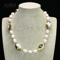 Natural pearls strand beaded necklace 16pearls &gold color pearls necklace handmade jewelry necklace gift for lady