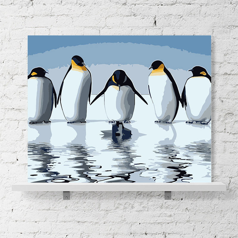 Simple modern marine world penguin corridor porch decorative painting small penguin mural DIY painting by digital art paintingSimple modern marine world penguin corridor porch decorative painting small penguin mural DIY painting by digital art painting