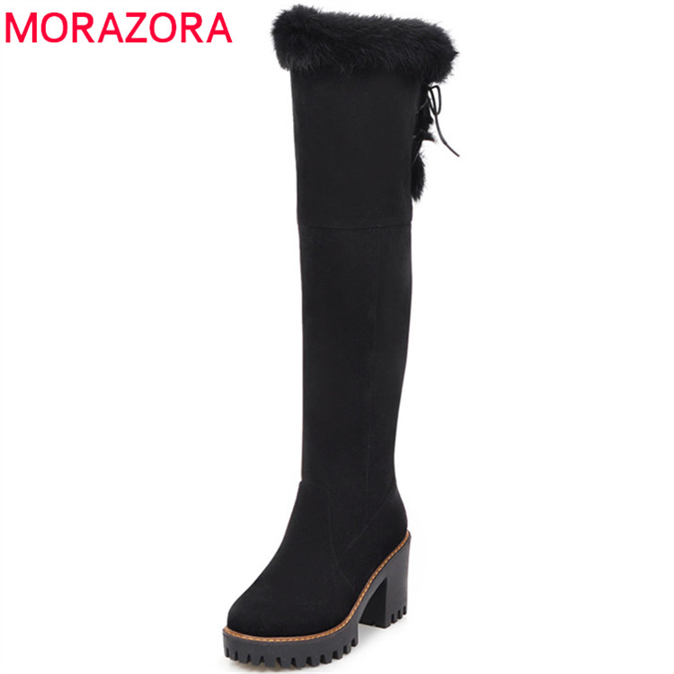 MORAZORA 2018 Winter boots for women high heels shoes woman keep warm over the knee boots woman platform snow boots yougolun woman nubuck winter over the knee snow boots 2018 women thigh high boots ladies square heels thick plush warm shoes