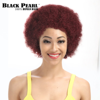 Black Pearl Short Curly Wine Red Wigs Short Pixie Human Hair Afro Wigs For Black Women