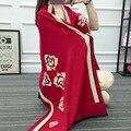 2016 Зима одеяло шарф женщин дизайнер цветок кашемировый шарф пашмины модный бренд толстый теплый пончо и накидки
