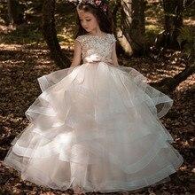 꽃의 소녀 드레스 우아한 샴페인 레이스 appliqué 민소매 계단식 아이 결혼식을위한 미인 대회 첫 번째 친교 드레스