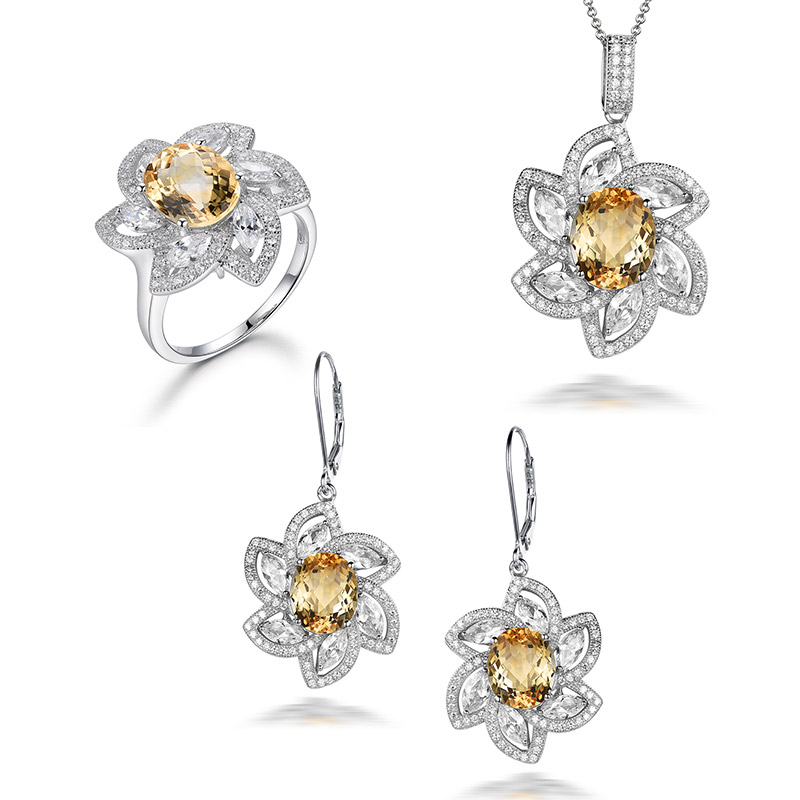 I&zuan 925 Sterling Silver Fine Jewelry Sets 4.57ct Citrine pendant & necklace 4.81ct Citrine Earrings 2.41ct Citrine Ring