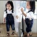Meninas Denim Macacão Moda meninas denim macacão Crianças Roupas Casuais Crianças Calças Da Menina Sólidos Denim Jeans bebe menina desgaste