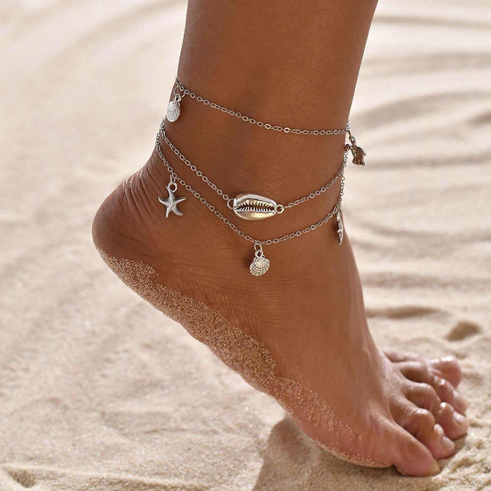Yobest романтическая оболочка свободный ножной браслет пляжный браслет-цепочка на лодыжку модная цепочка с подвеской в виде лапы для женщин Девушка Серебряный Золотой Цвет Лето