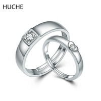 HUCHE Luxury Fashion Couple Rings Real 925 Sterling Silver Wedding Rings For Women Men 1 Pair