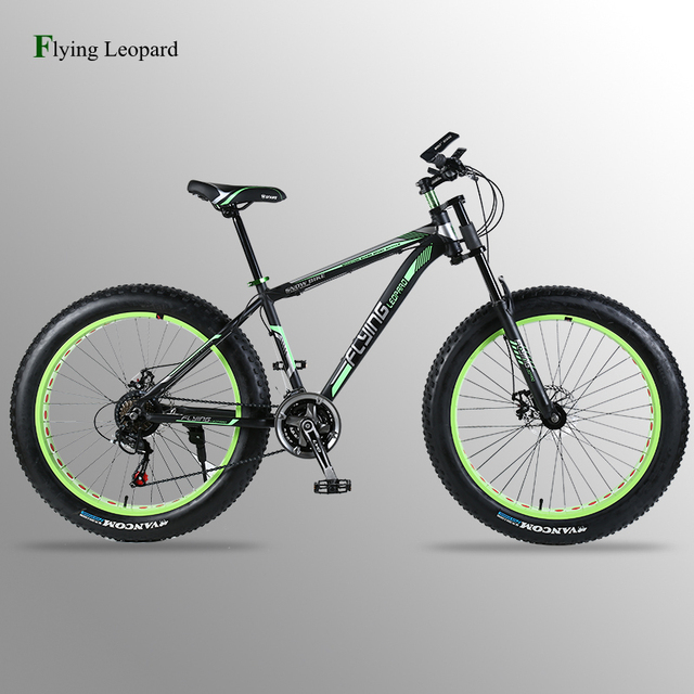 """Flying Leopard Mountain bike Aluminum Bicycles 26 inches 7/21/24 speed 26x4.0"""" Double disc brakes Fat bike road bike bicycle"""