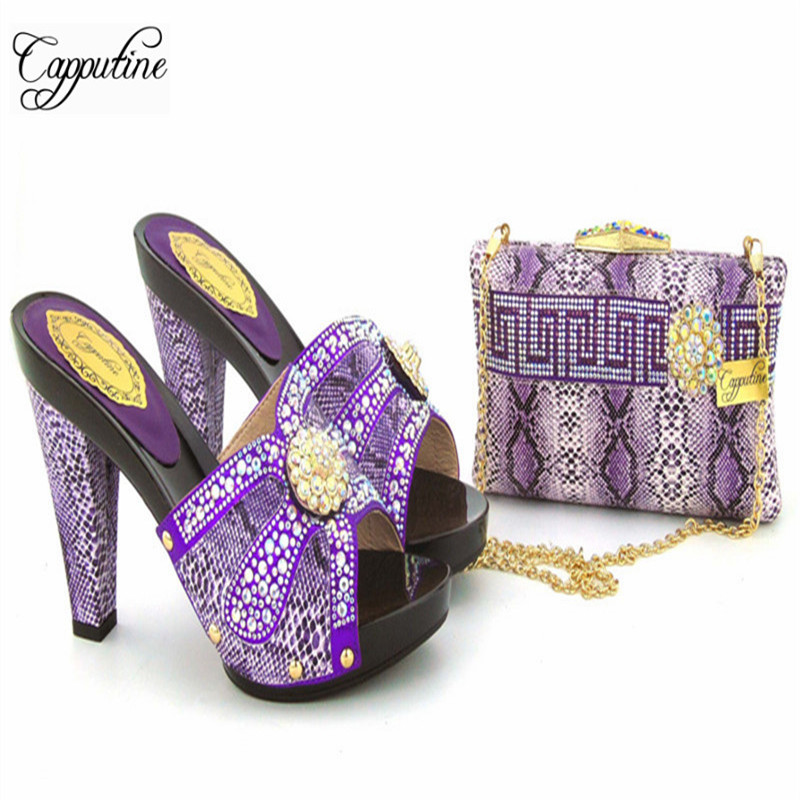 Capputine Purple Color New Design Shoes And Bag Set African Style High Heels Shoes And Bags Set For Woman Party Size 37-43 capputine european style elegant rhinestone shoes and bags set african style woman high heels shoes and bags for wedding party