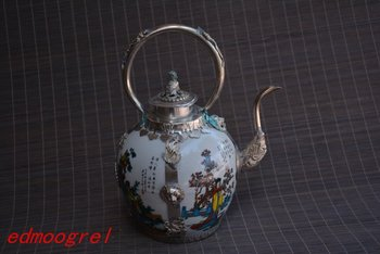 Very rare Qing Dynasty silver&porcelain teapot,Four ancient Chinese beauty