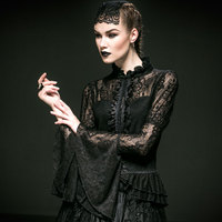 Fashion Punk Gothic Gorgeous Women Sexy Roses Lace Stand Collar Shirt Top Steampunk Black Hollow Out Trumpet Sleeve Blouses