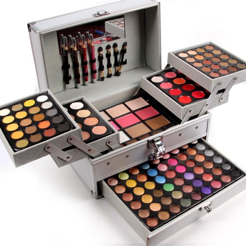 Miss rosa 190 cores conjunto de maquiagem profissional piano caixa de alumínio sombra em pó brilho labial blush ferramenta cosmética multifuncional