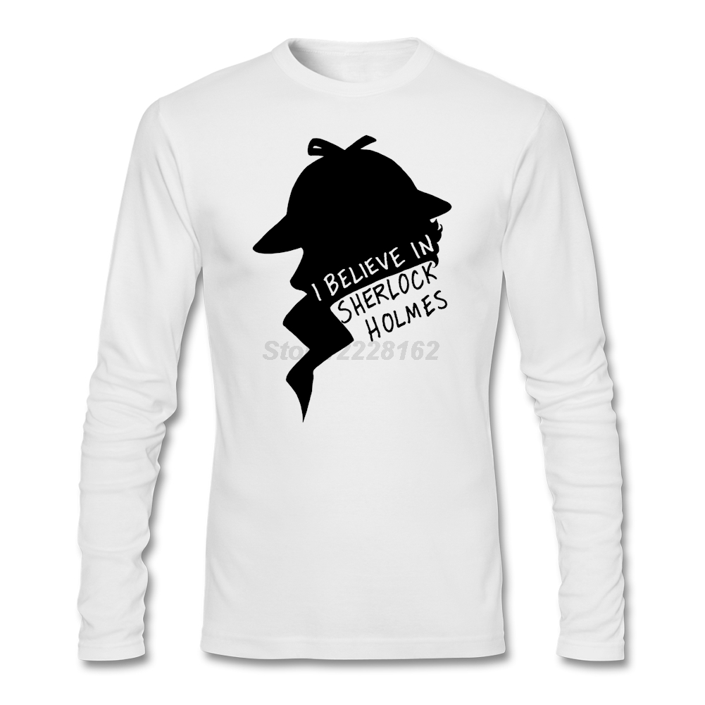 Custom Made T Shirts for Men's Lover Teenage Shirts Believe in Sherlock O Collar The detective mind Costumes Quilt Shirts Home - intl