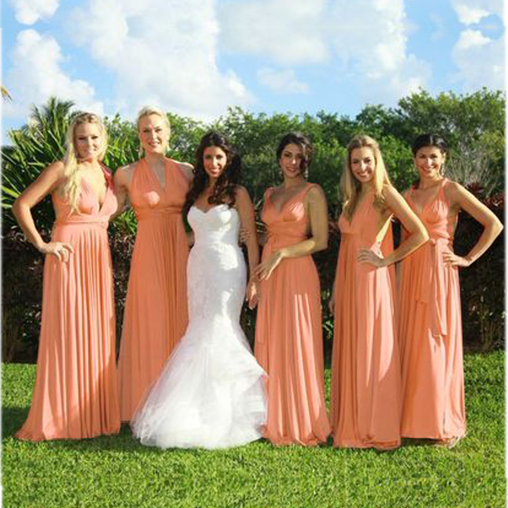 7bbce4b9e07 2016 Summer Sexy Coral Multiway Bridesmaids Convertible Dress Sexy Women  Wrap Maxi Dress Long Dress s robe longue femme