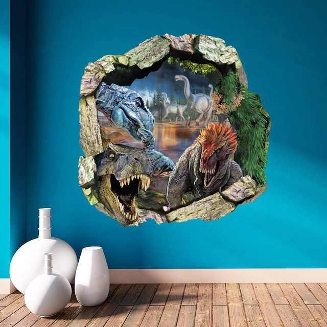 Украшения 3D декорации стены Стикеры съемный c Книги по искусству Ун динозавров стены таблички для детей номеров ребенок обои Книги по искусству
