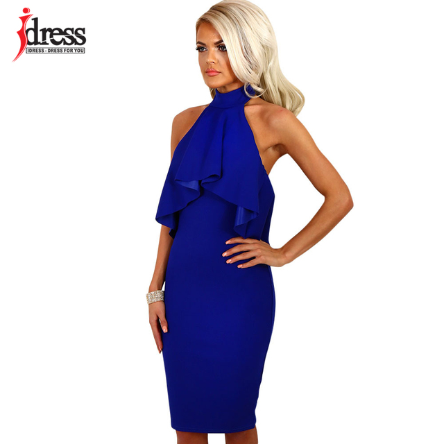 ae36d420952 IDress Latex Sexy Ruffles Summer Dress Sleeveless Off Shoulder Halter  Backless Black Blue Red Bodycon Dress Women Party Dresses