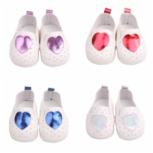 New 7cm Doll Shoes for 18 Inches Ameican 43cm Reborn Babe Fashion Sport With Glitter Heart Mini Accessories