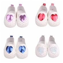 New 7cm Doll Shoes for 18 Inches Ameican Doll 43cm Reborn Babe Fashion Sport Shoes With Glitter Heart Mini Doll Accessories(China)