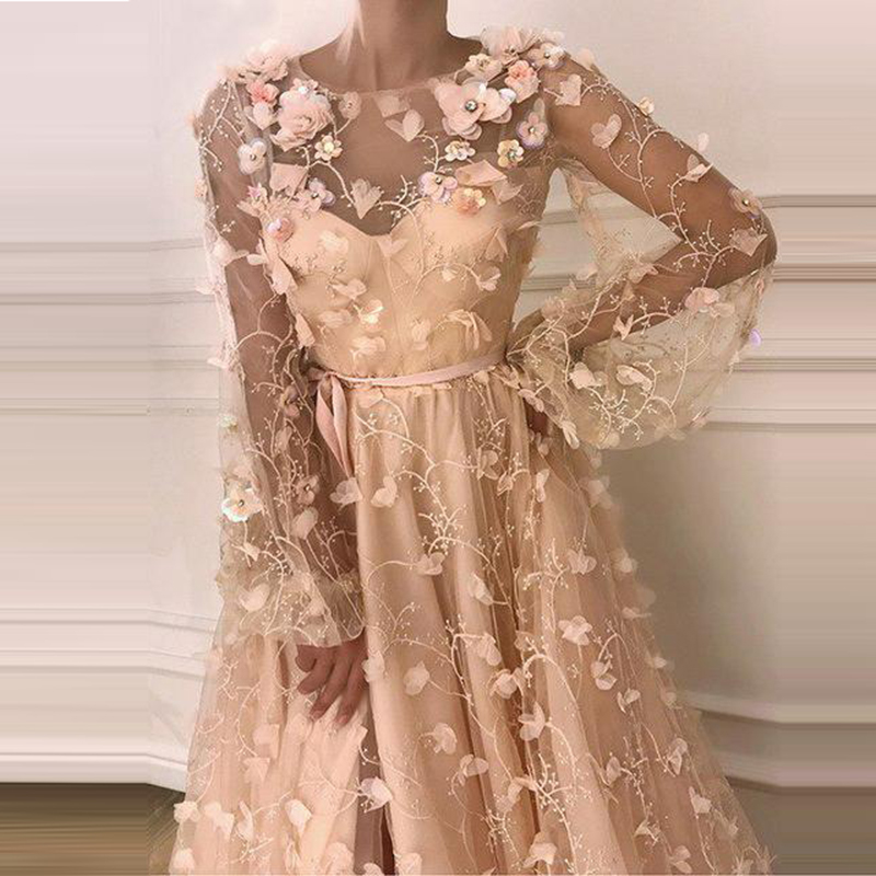 Long Sleeves Elegant   Evening     Dresses   Long Tulle with Appliques Party Gowns Robe De Soiree Prom   Dress   Elegant