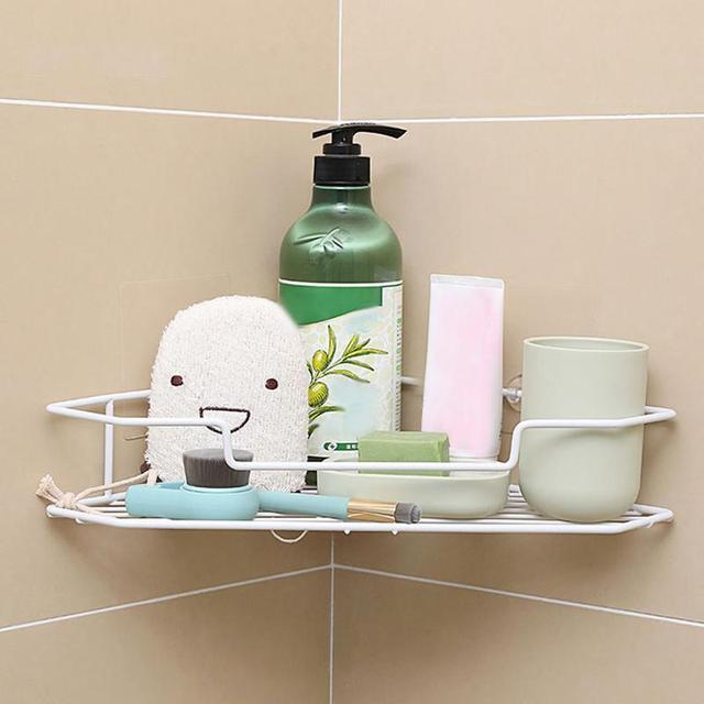 Bathroom Corner Triangle Shelf Kitchen Seasoning Bottles Saltbox Storage  Rack Wall Mounted Organizer Shelves Holder V3