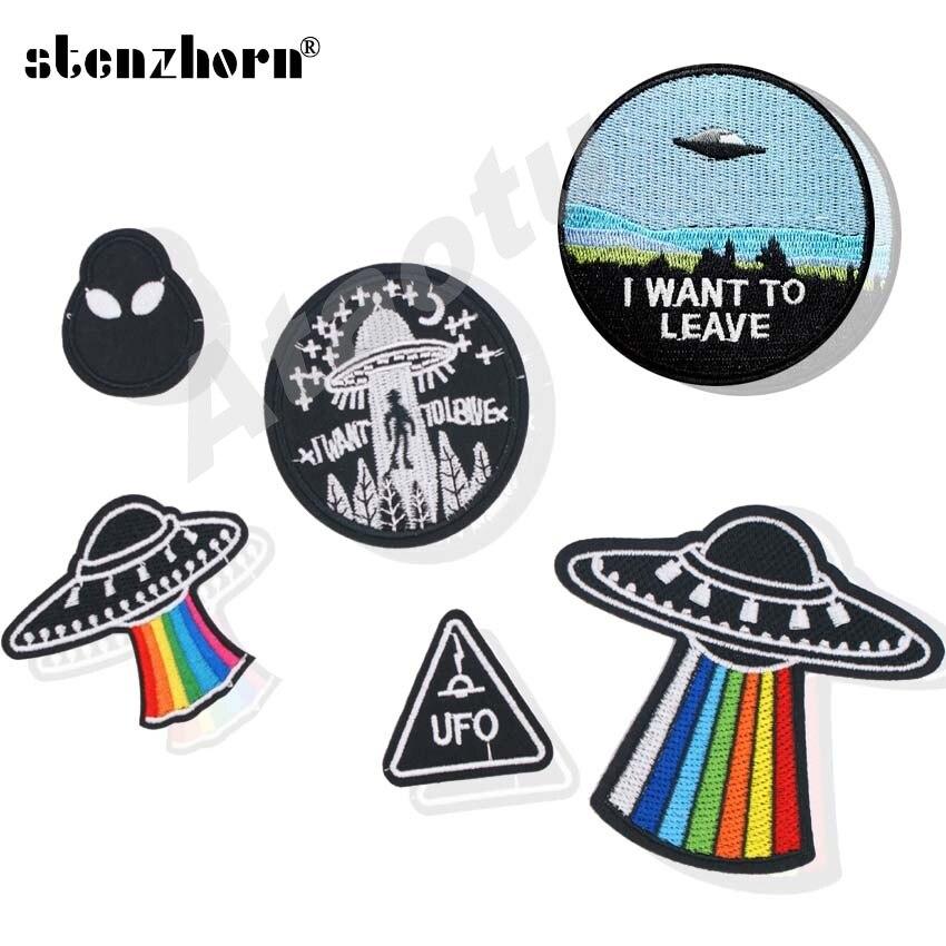 (1 Stück) Bestickt Eisen Nähen Auf Logo Patches Ufo Ich Lassen MÖchten Alien Untertasse Mann Raumschiff Abzeichen Kleidung Zubehör Neueste Mode
