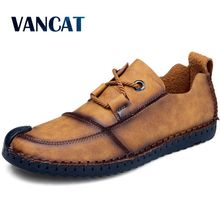 Vancat 2018 Handmade Leather Shoes Men Luxury Brand Men Shoes Casual Moccasins Men Fashion Loafers Men Flat Driving Shoes