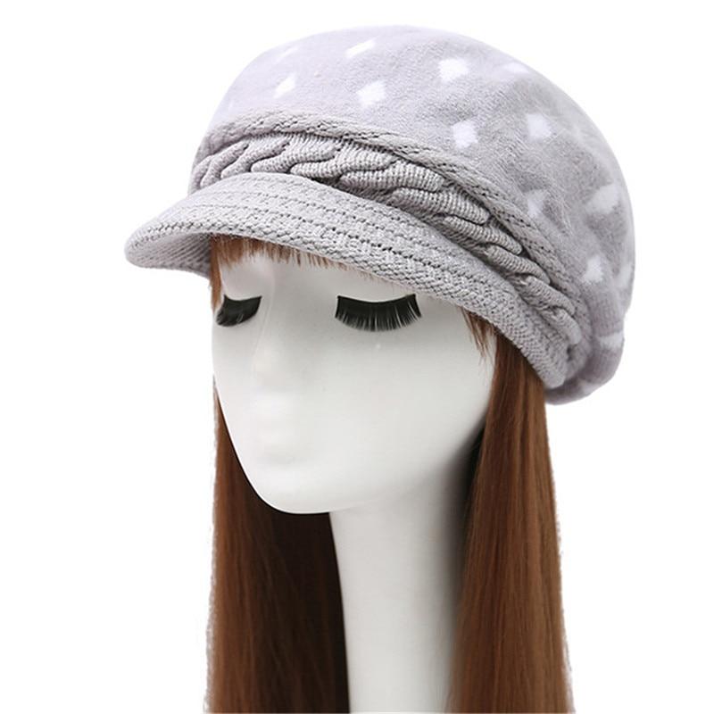 Winter hat beret knitted women Beanie Knit Hat Skullies Beanies Rabbit Fur Soft Thicken Warm Woolen Gorros Bonnets Wholesale mink skullies hat beret knitted hat women winter gorgeous 2294