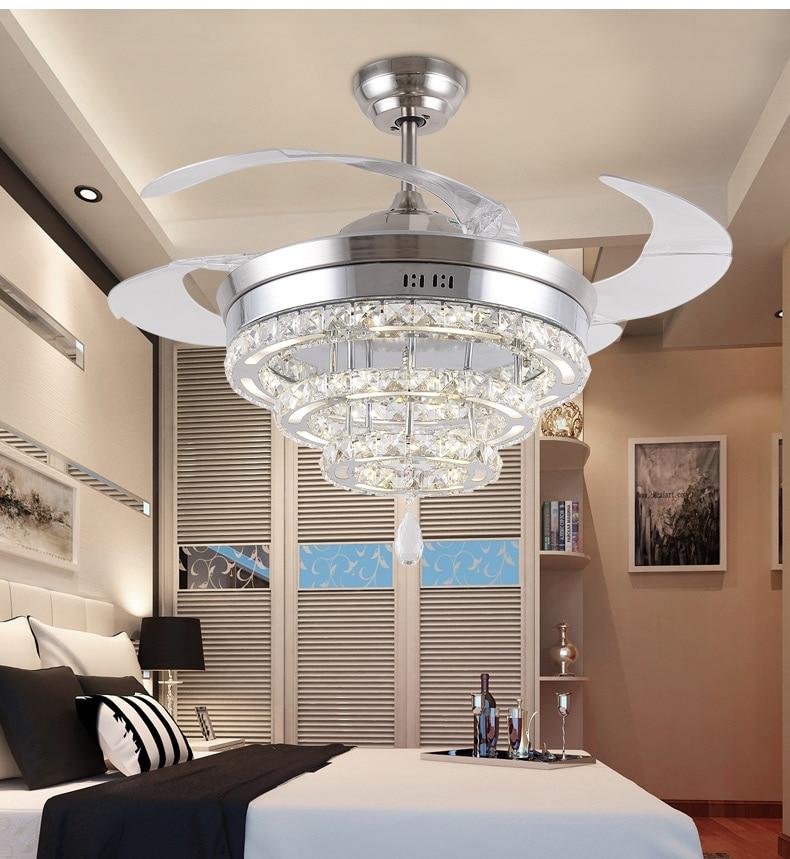 Led Kristall Kronleuchter Fan Lichter Wohnzimmer Minimalistische Restaurant Moderne Mit Fernbedienung