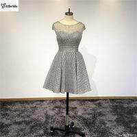 Prawdziwe Custom Made Sliver Szary Wycięciem Linii Krótkie Suknie Koktajlowe