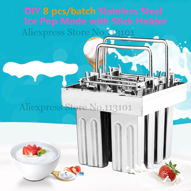 Popsicle Mould 8pcs/Batch Ice-lolly Mold Durabe Stainless Steel DIY Food Tool commercial & household use one pcs price stainless steel ice pop mould durable repeated use 30pcs set with stick holder