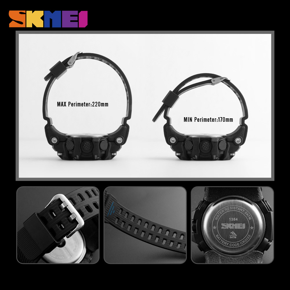 SKMEI Mænd Outdoor Sports Watch Countdown 2Time Alarm Fashion - Mænds ure - Foto 5