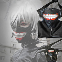 Cartoon Tokyo Ghoul Masks Kaneki Mask Adjustable Zipper Party Supplies Pu Leather Cool Mask Blinder Anime