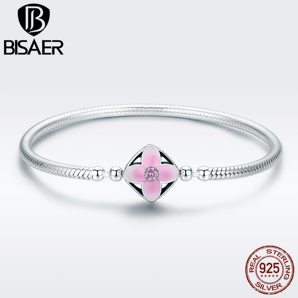 925 Sterling Silver Blooming Cherry Flower Snake Chain Bracelets for Women Pink Enamel Bracelets Bangles Sterling Silver Jewelry 4 style 925 basic snake chain bracelets round flower love heart pink color buckle bracelets for women diy charms jewelry