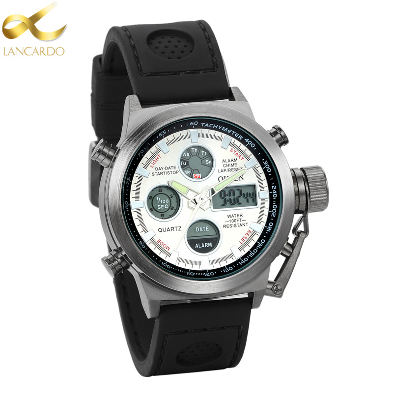 Lancardo Men Sports Watches Military Digital Watches Dual Display Analog LED Quartz Watch Brand Male 30M Waterproof Wristwatches