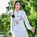 Spring Summer Women New Air Conditional T-Shirt 2017 National Chiffon Splicing Lantern Sleeve Slim Stand Collar Tops