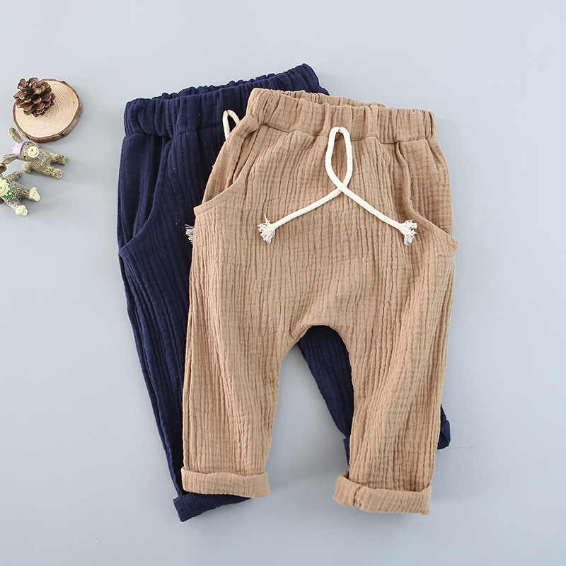 Girls trousers Kids Clothing children pants for baby boys harem pants blue khaqi grey yellow black solid linen soft