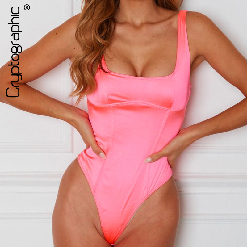 Cryptographic Neon Pink Bodysuit Satin Sleeveless Bodycon Jumpsuit Summer Backless Body Suit Casual Fashion Body Women Tops