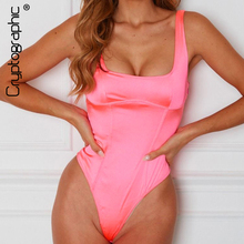 Cryptographic Neon Pink Bodysuit Satin Sleeveless Bodycon Jumpsuit Summer Backless Body Suit Casual Fashion Women Tops