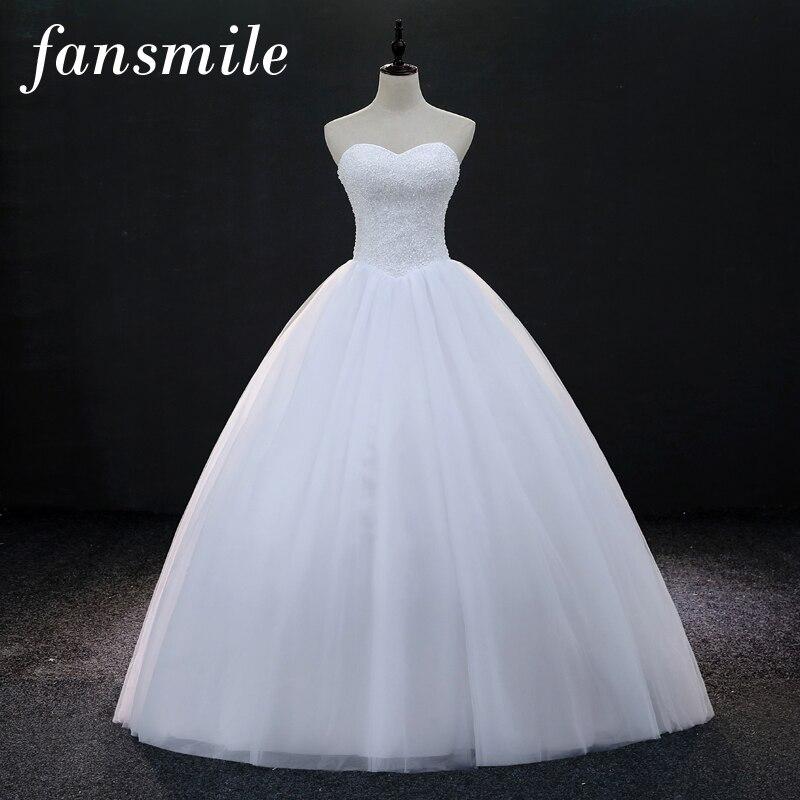 Fansmile Vestido De Noiva Quality Luxury Crystals Ball Wedding Dresses 2019 Customized Plus Size Bridal Dress
