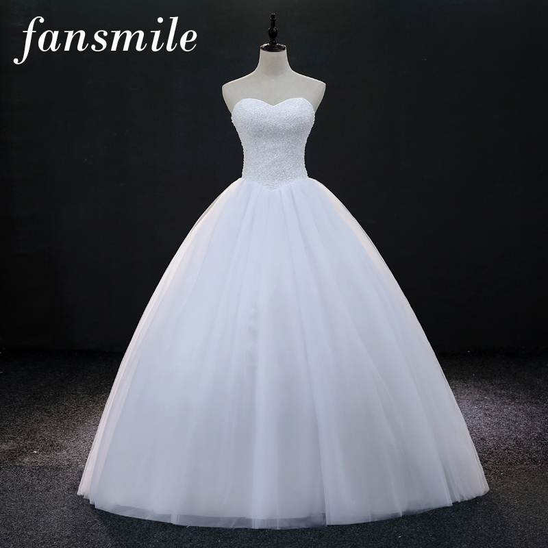 Fansmile Quality Luxury Crystals Ball Wedding Dresses 2017 Customized Plus Size Bridal Dress Gowns Vestido De Noiva FSM-157F