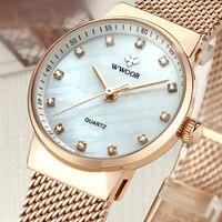 Luxury Brand WWOOR New Simple Women Watches Fashion Quartz Watch Ladies Casual Diamonds Wrist Watch Female