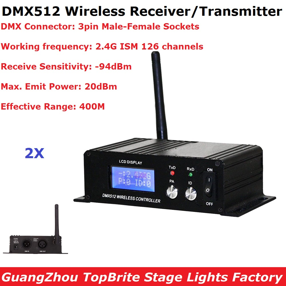 2X Wireless DMX 512 Controller Transmitter & Receiver 2IN1 LCD Display Power Adjustable Repeater LED Lighting Controller DMX512 wireless dmx 512 receiver transmitter controller 2 4g wireless dmx512 lighting controller dmx512 aliexpress standard shipping