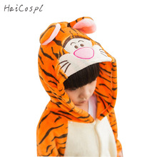 Tiger Pajama Suit For Kids Animal Onesie Winter Warm Flannel Sleepwear Hooded Anime TIGGER Cosplay Costume Party Cute Fantasy