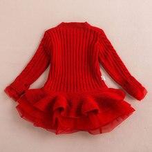Thick Warm Knitted Chiffon Winter Girl Dress